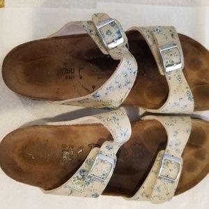 Birkenstock Birkis Sandals Sz 40 L 9 Yellow Floral